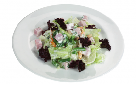 Салат из фасоли с ветчиной и хреном