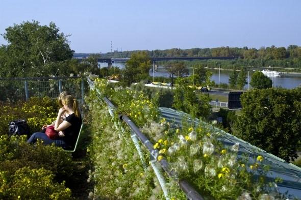 Сад на крыше библиотеки в Варшаве