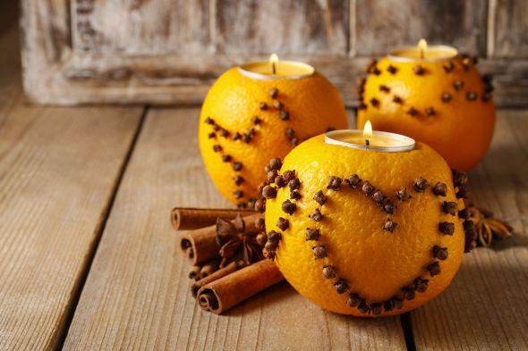 подсвечники из апельсинов