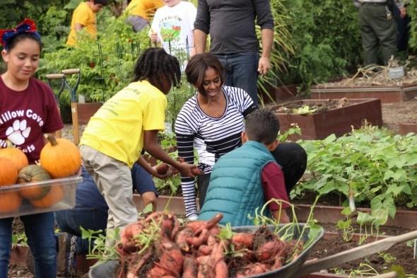 Мишель Обама с детьми собирает урожай