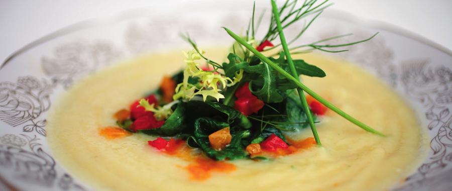Картопляний суп-пюре зі шпинатом